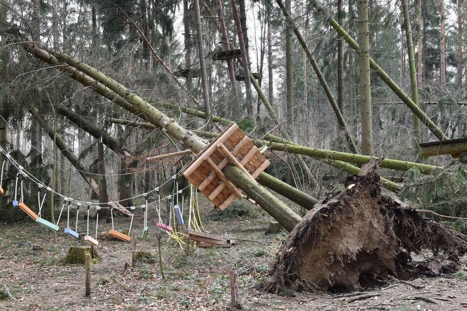 Die Betreiber des Waldseilparks in Paulsdorf  wollten eigentlich in ihre zehnte Saison gehen. Doch mit dem Jubiläum wird es nichts. Sturm Eberhard hat am Sonntag dieses Waldstück mitsamt dem Park zu großen Teilen zerstört.