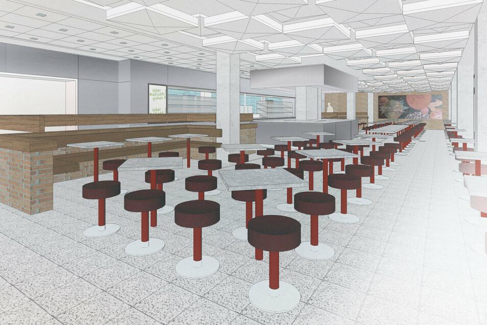 So soll die Cafeteria künftig aussehen. Hocker und Tische sind beweglich.