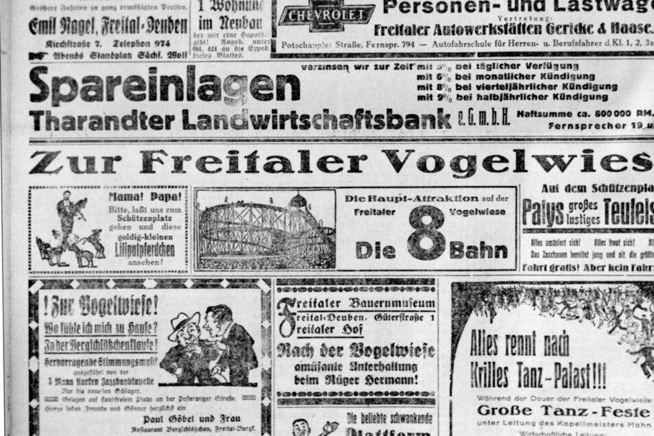 Werbung in der örtlichen Presse für die lokale Vogelwiese, die ursprünglich in Potschappel ihren Ursprung nahm und mit Gründung der Stadt 1921 zur Freitaler Vogelwiese wurde.