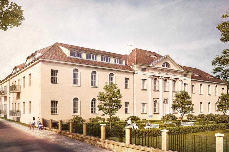 Die Bauarbeiten am Kamenzer Barmherzigkeitsstift haben jetzt begonnen: So soll es 2023 aussehen, wenn die ersten Senioren ihre Wohnungen beziehen.