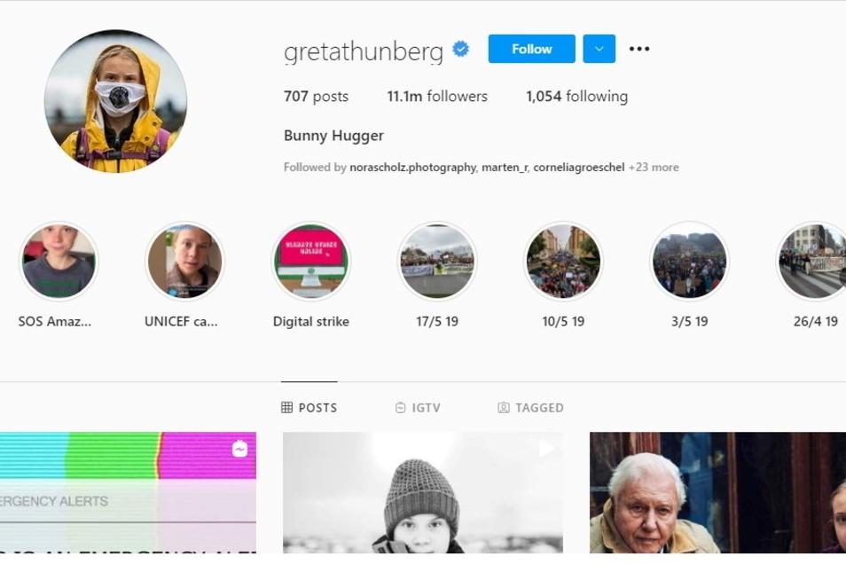 """Auf Thunbergs Instagram-Kanal steht nun der Begriff """"Bunny Hugger"""" - eine Parodie des Zitats von Boris Johnson auf dem Online-Klimagipfel."""