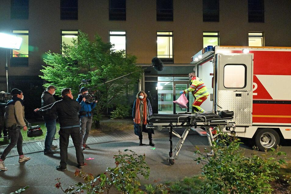 Ende März waren die Dreharbeiten für den neuen Dresden-Tatort gut eine Woche nach Beginn unterbrochen worden. Nun geht es weiter. Im Bild: Kommissarin Karin Gorniak.