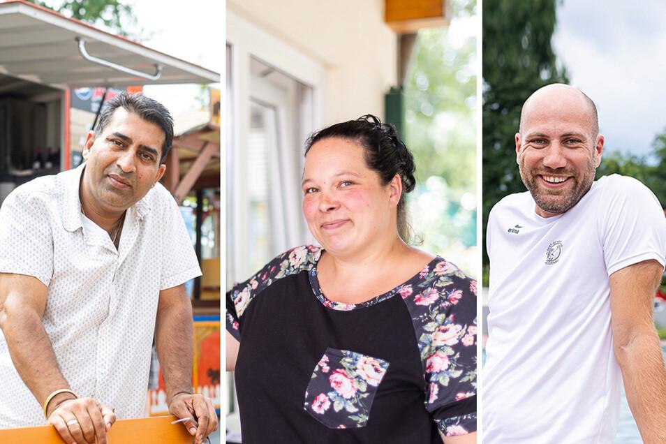 Die Drei vom Bad: Imbissbetreiber Makhan Singh, Kassiererin Yvonne Grocholl und Schwimmmeister Christoph Halle.