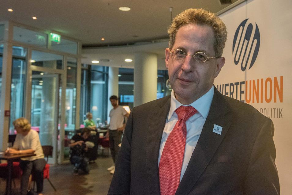 Hans-Georg Maaßen, Ex-Verfassungsschutzchef, bei der Wahlparty der Werte-Union der CDU am 1. September 2019 in Dresden im Penck Hotel.
