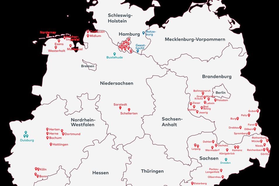 Standorte von Falck in Deutschland.