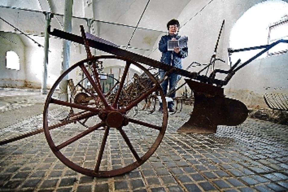 Wer sich so ein historisches Landwirtschaftsgeräte zu Deko-Zwecken in den Garten stellen will, kann eines am 8. Juni im Kloster Buch ersteigern. Die Exponate sind jetzt am Sonnabend schon einmal zum Bauernmarkt zu sehen.