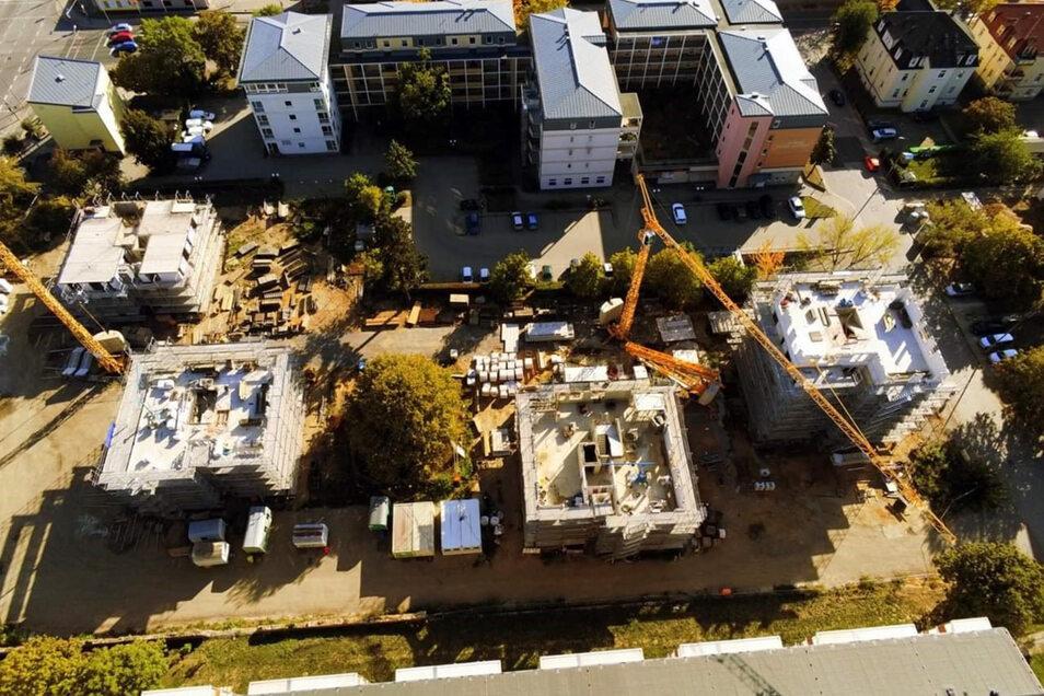 Das Neubaugebiet Hegelstraße in Bautzen. Hier entstehen im Auftrag der BWB vier Häuser mit insgesamt 40 Wohnungen.