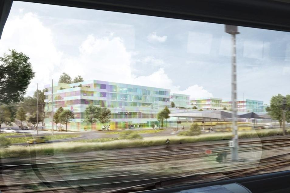 Die Visualisierung zeigt, wie der Neubau vom Zug aus aussehen würde.