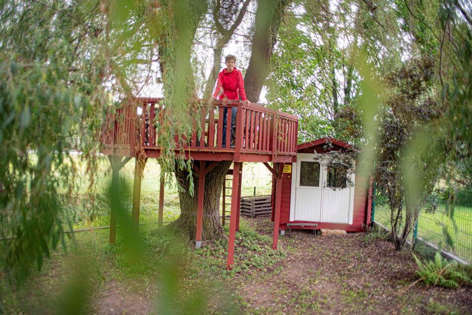 Die Baumterrasse an der alten Weide ist nur einer von vielen Sitzmöglichkeiten im Garten. Bei mehreren Generationen unter einem Dach hat jeder so die Auswahl und kann auch einmal für sich sein.