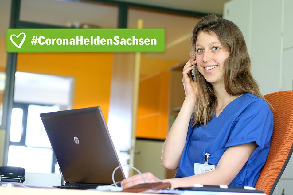 Clara Haubold hilft derzeit in der Corona-Ambulanz in Meißen mit. Eigentlich studiert die 26-Jährige Medizin in Halle.
