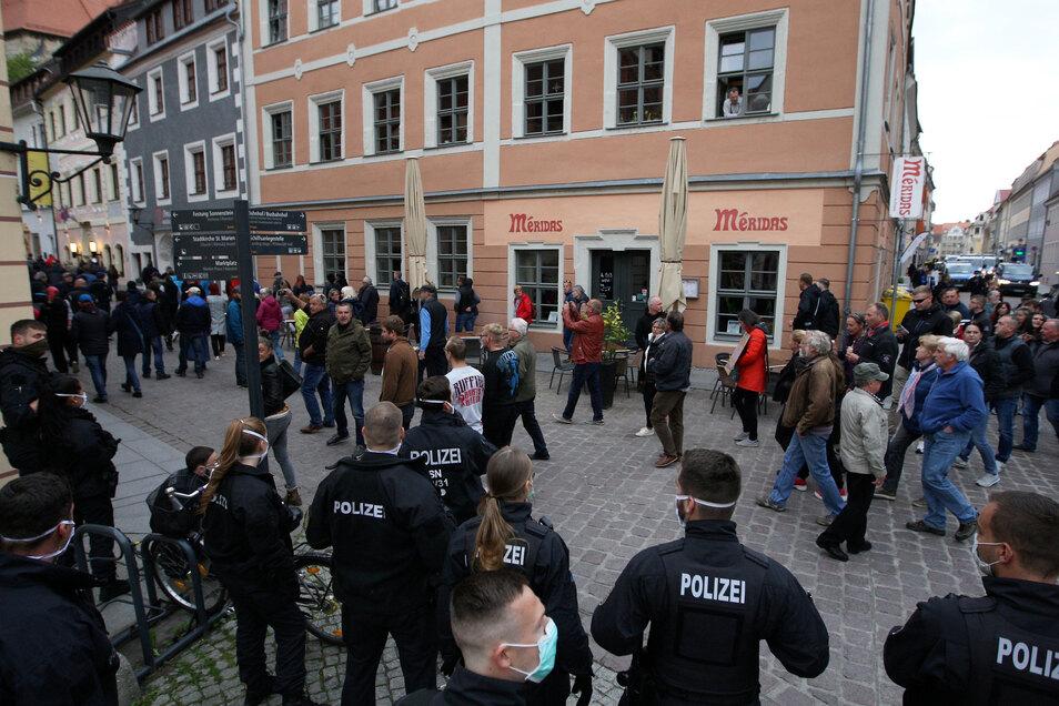 Corona-Protest am vergangenen Mittwoch in Pirna: Gewalt schadet dem Ansehen der Stadt.