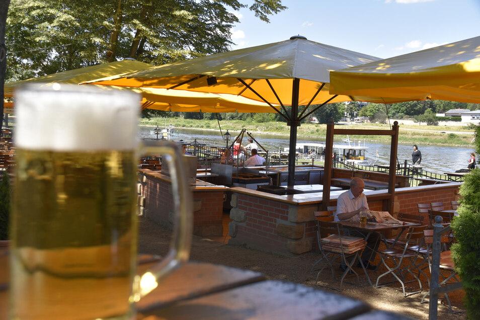Der Fährgarten Johannstadt liegt zwischen Albert- und Waldschlößchenbrücke mit Blick auf die Altstadt. Die Gartenwirtschaft ist von der Neustadt aus per Fähre zu erreichen. Der halbe Liter Radeberger kostet 4,10 Euro, zu essen gibt es Bratwurst und Pommes.
