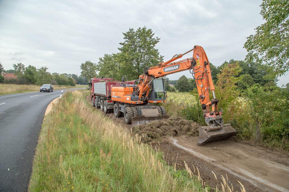 Bagger und Lkw statt Radfahrer sind jetzt auf dem Radweg zugange. Der Landkreis hat dafür die Firma STB See mit der Erneuerung des Weges beauftragt.