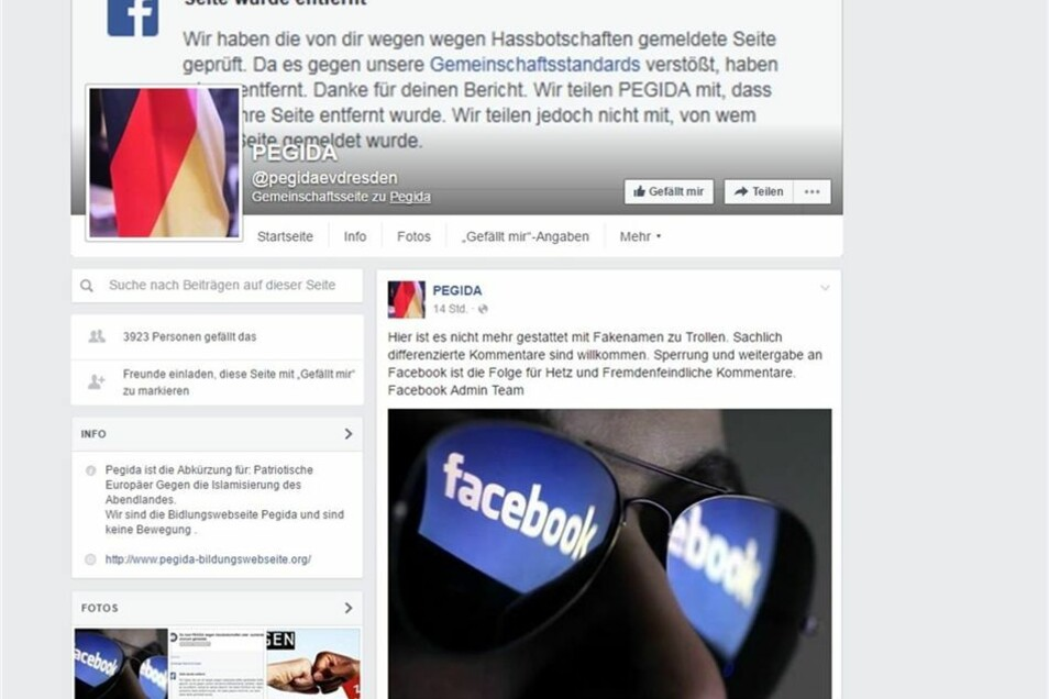 Pegida Facebook Gesperrt