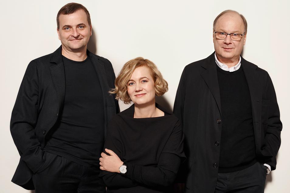 Wie gehabt und doch verändert: die Geschäftsführung der Uhrenmanufaktur Nomos Glashütte. Uwe Ahrendt, Judith Borowski und Roland Schwertner (v.li.).