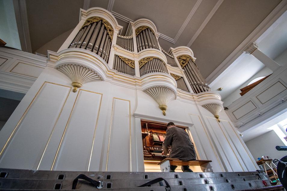 Waldheims Kantor René Michael Röder ließ die noch nicht ganz fertigsanierte Orgel schon mal erklingen. Er wird die Kirchgemeinde zum Ende des Jahres verlassen.