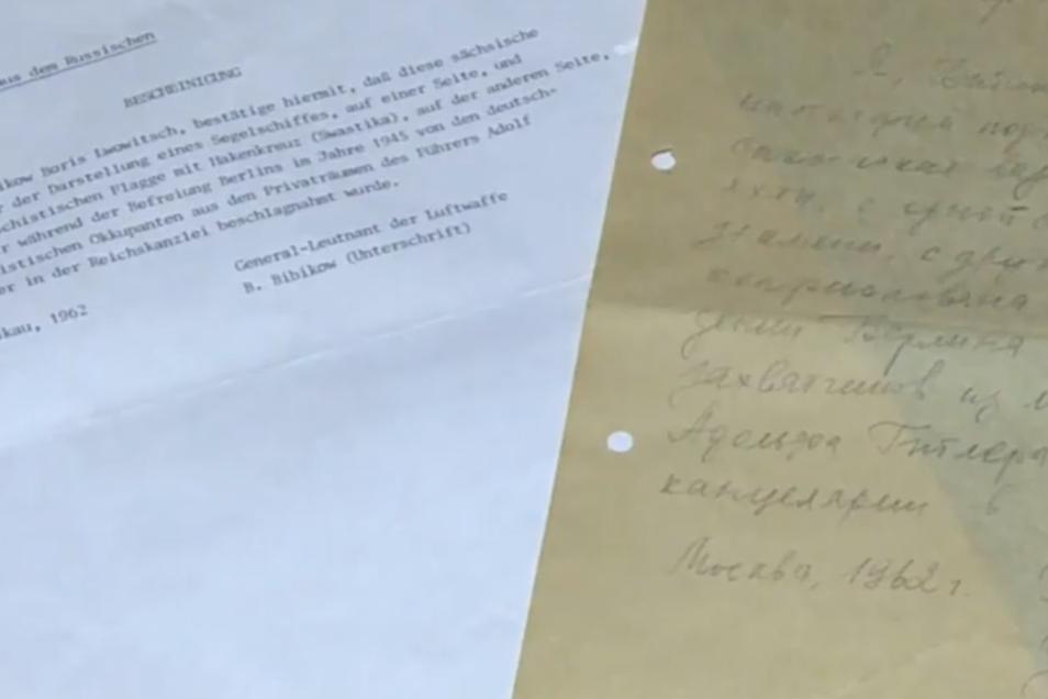 Ein Schreiben des sowjetischen General-Leutnants Boris Bibikow soll die Herkunft der Vase aus den Räumen der Reichskanzlei bezeugen.