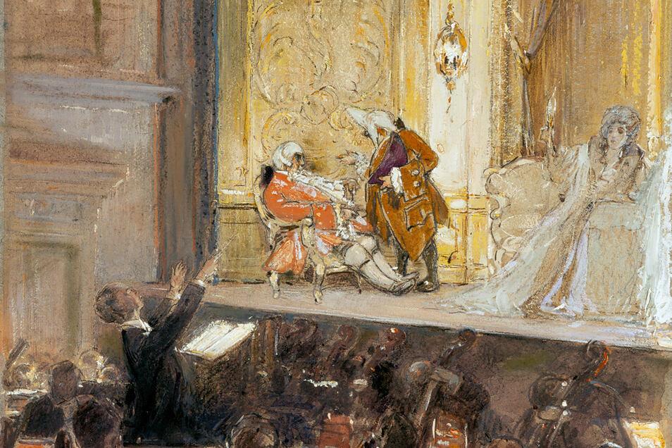 In diesem Werk hielt Robert Sterl die Uraufführung des Rosenkavaliers von Strauß in Dresden fest. Es dirigiert der von ihm verehrte Ernst von Schuch.