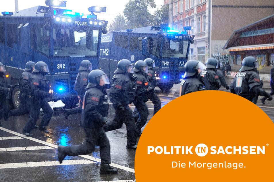 Die Polizei griff am Wochenende in Leipzig hart durch.