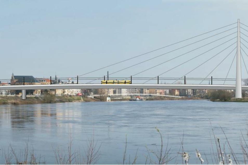 Brückenvariante 1 kommt in Pieschen direkt neben dem Watzke (links), hat aber laut der Untersuchung die geringsten Chancen.