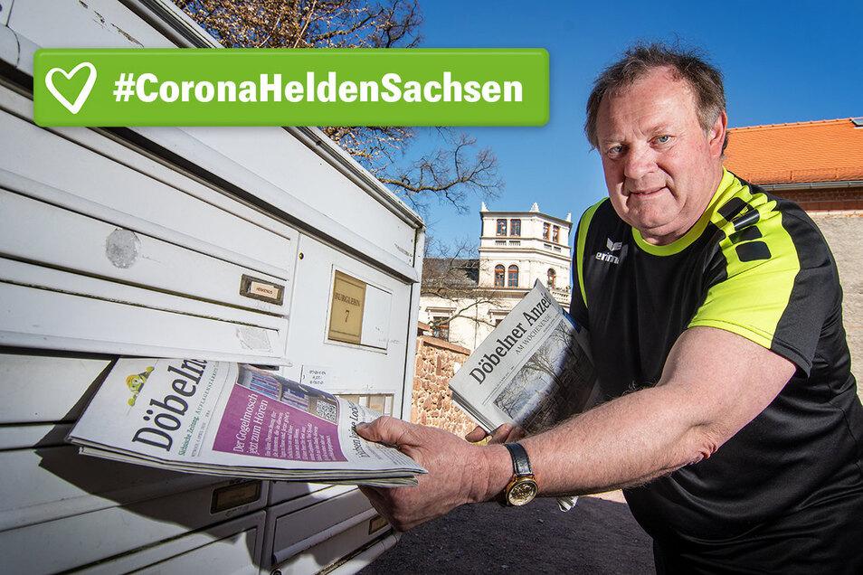 Dieser Briefkasten in der Nähe der Burg Mildenstein ist einer der letzten, den Frank Geißler auf seiner täglichen Tour mit dem Döbelner Anzeiger bestückt. Normalerweise ist es da aber noch dunkel.