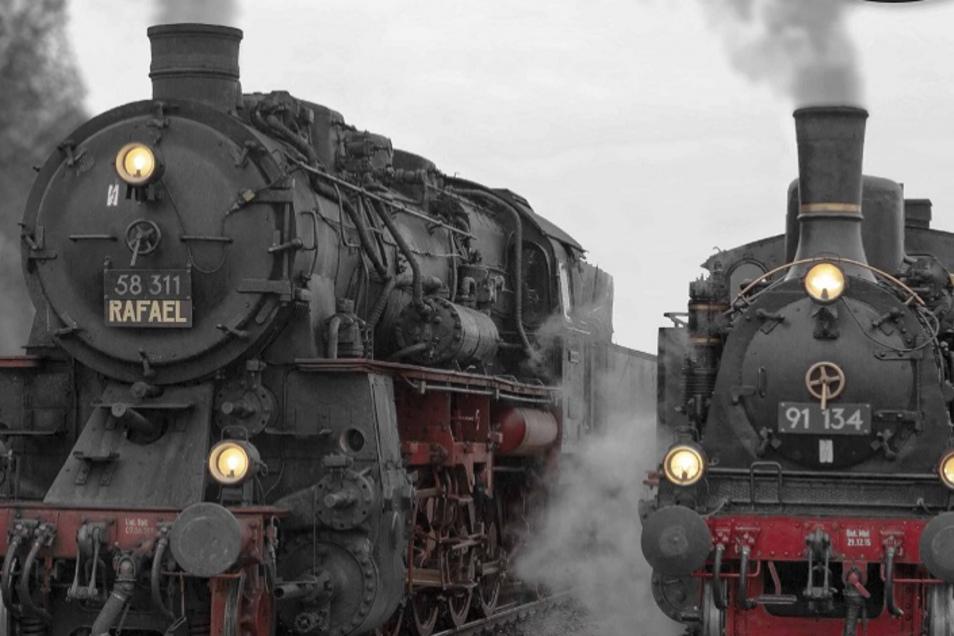 Im Bahnwerk Dresden treffen sich die Dampfloks und ihre Fans.