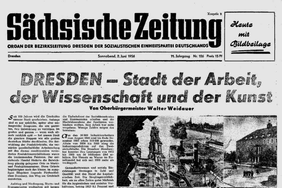 Lange Tradition in immer wieder neuer Erscheinung: So haben sich die Titelseiten der Sächsischen Zeitung im Laufe von siebeneinhalb Jahrzehnten verändert. Diese ist aus dem Jahr 1956.