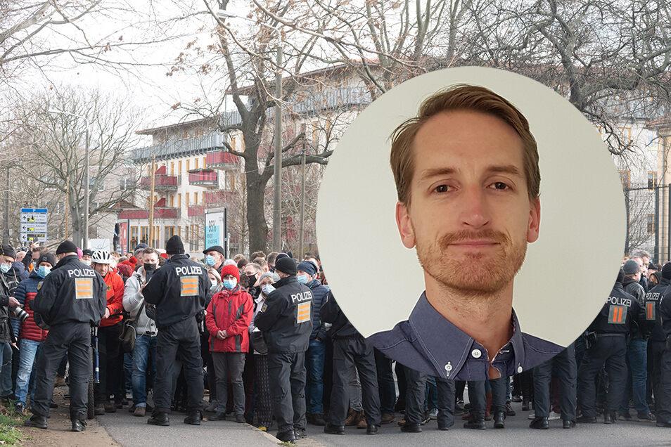 """Marcus Fuchs, Kopf von """"Querdenken 351"""" und früher Kreiselternratvorsitzender in Bautzen."""