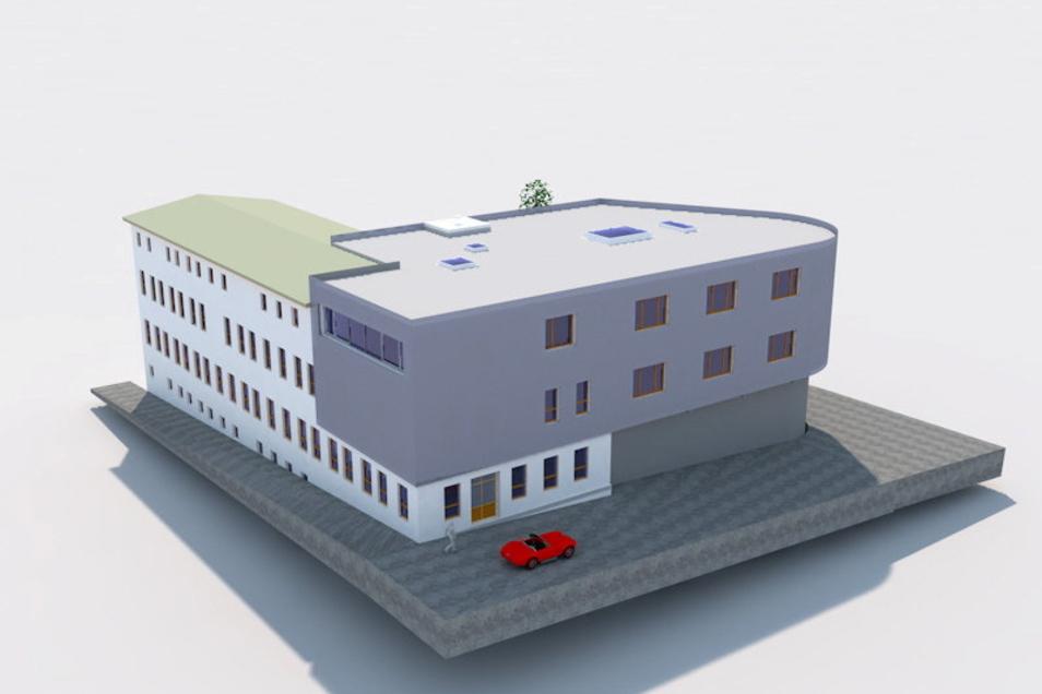 In der Visualisierung ist der neue Baukörper grau dargestellt.
