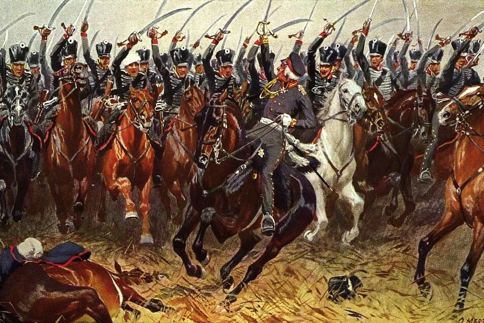 Eine sächsische Kavallerie-Einheit geht während der Leipziger Völkerschlacht zum Angriff über.
