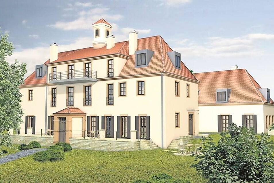 So stellen sich die Planer den neuen Waldhof vor. Die Bauarbeiten sollen noch in diesem Jahr beginnen. Visualisierung: Dresden Haus GmbH