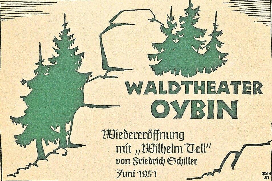 Einladungskarte zur Festaufführung anlässlich der Wiedereröffnung des Waldtheaters im Juni 1951.