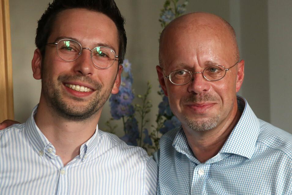 Dennis Hohloch (l), amtierenden AfD-Fraktionschef und sein Vorgänger Andreas Kalbitz.