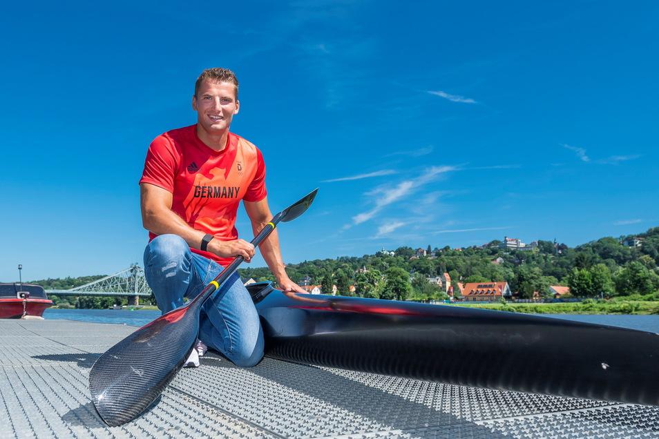 Der Dresdner Kanute Tom Liebscher zählt zu den großen Medaillenhoffnungen. Schon 2016 wurde er Olympiasieger mit dem Kajak-Vierer.