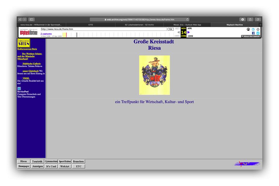 Archive.org macht es möglich, sich anzuschauen, wie www.riesa.de im November 1996 aussah. Im Frühjahr desselben Jahres war die einfach zu merkende Netzadresse der Stadt erstellt worden.