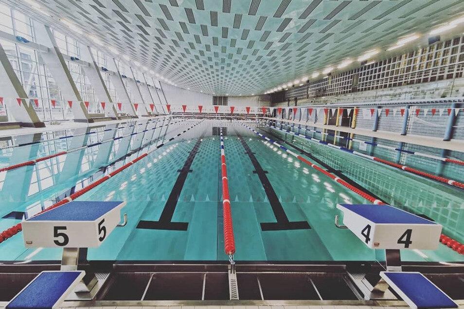 Leere Bahnen wie hier kurz vor der Eröffnung gibt es im neuen Schwimmkomplex am Freiberger Platz mittlerweile kaum noch.