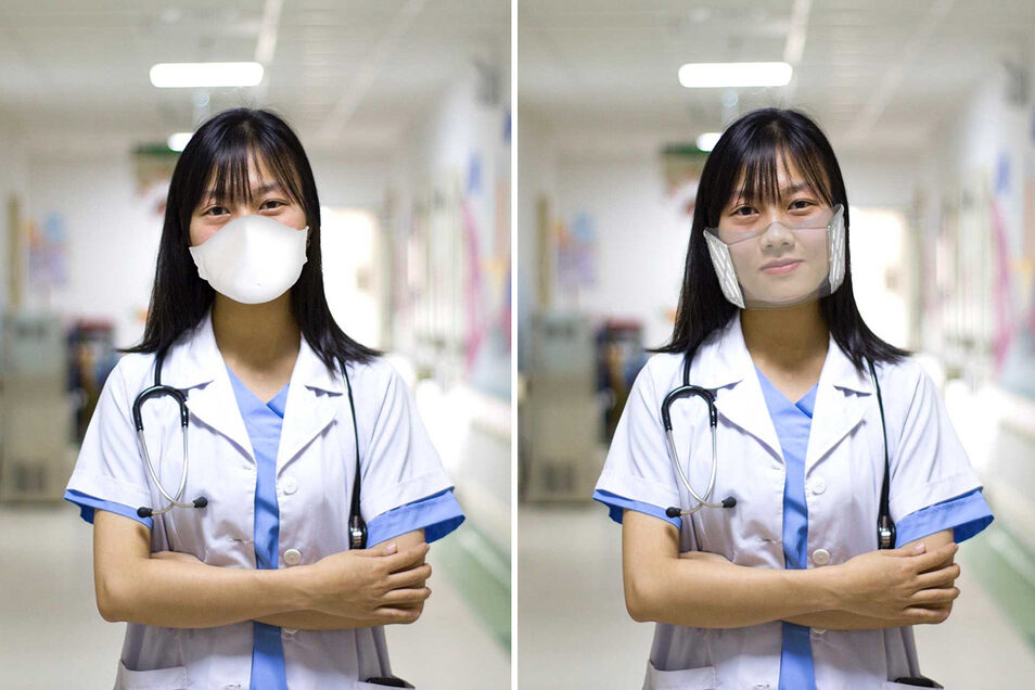 Normale Masken verdecken die Mimik. Die transparente, wiederverwendbare Atemschutzmaske der Münchner Firma Iuvas erleichtert die Kommunikation.
