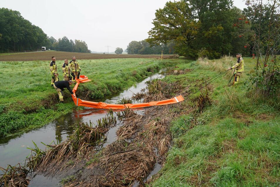 Feuerwehrleute haben am Dienstagvormittag Ölsperren im Wuischker Wasser in Zieschütz errichtet.