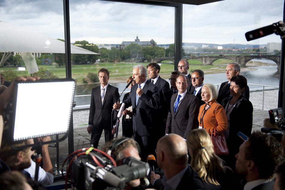 Die CDU feiert 2014 ihren Wahlsieg im Restaurant gleich über dem Landtag mit Blick auf die Elbe.