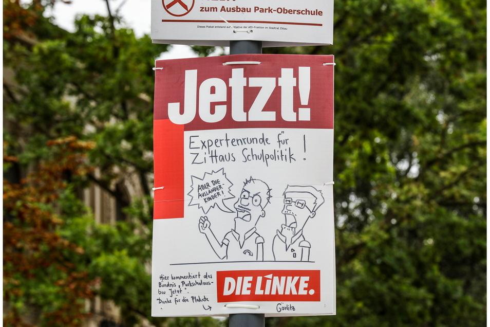 """Eines der Plakate der Initiative """"Parkschulausbau Jetzt!"""". Dieses hing auf der Bahnhofstraße."""