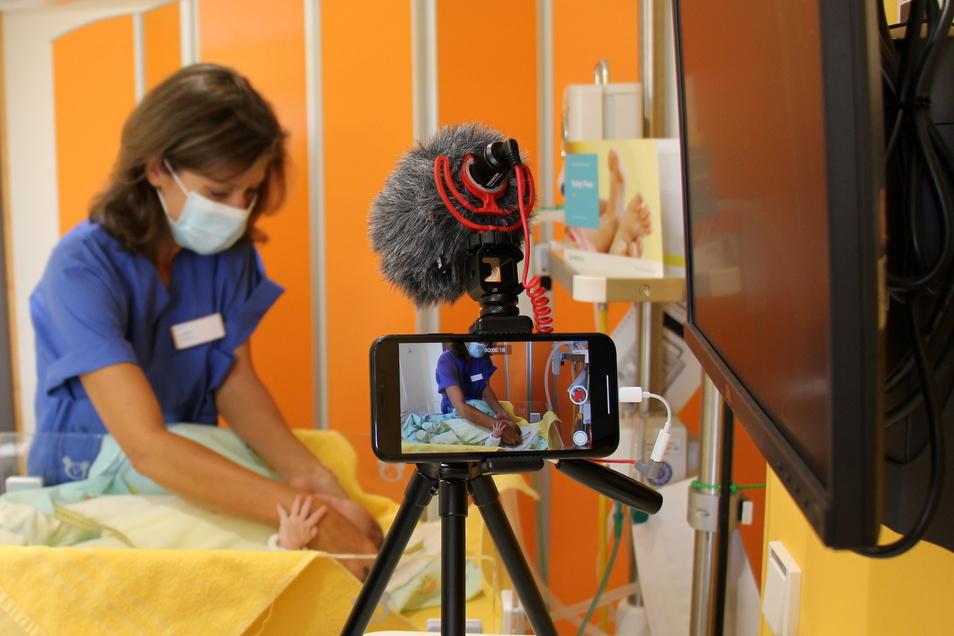 Wegen Corona bislang nur virtuell, jetzt wieder real möglich: Erkundungstouren durch die Kreißsäle im Pirnaer Klinikum.