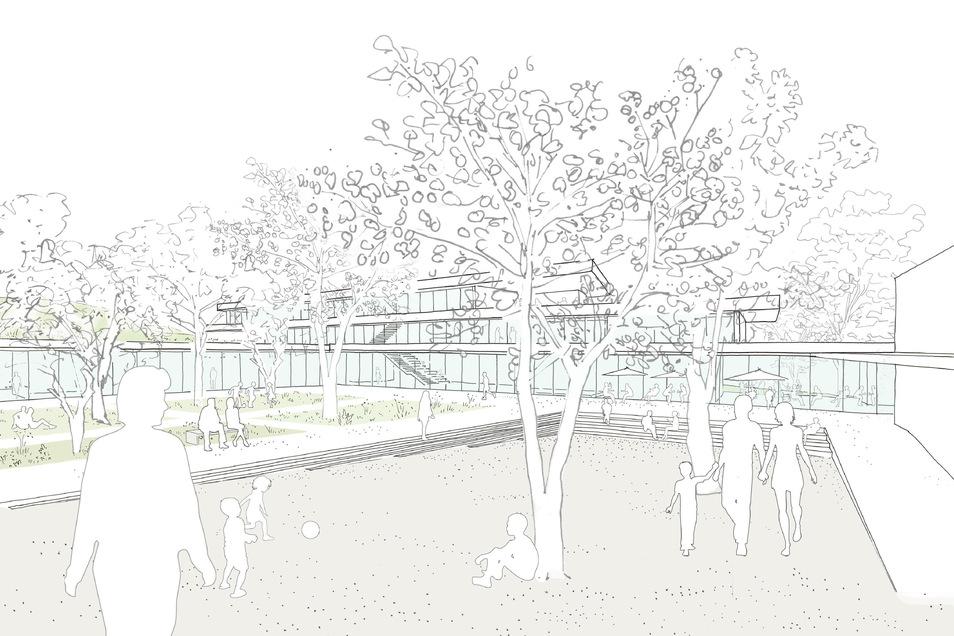 Ein Blick vom Innenhof auf den Grundschulneubau - so soll Kreischas Campus in Zukunft aussehen.