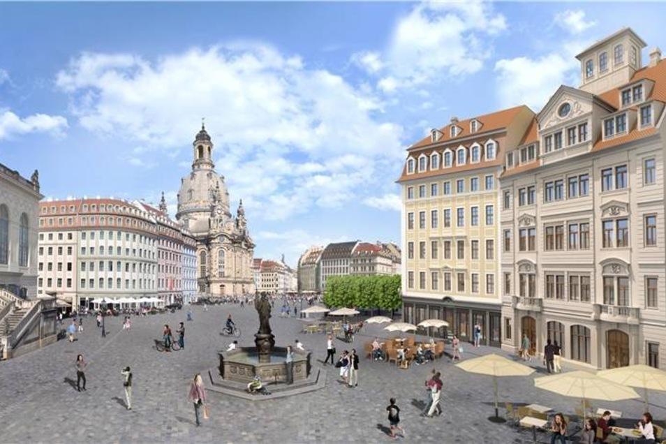 """Mit dem Baustart auf einer der letzten freien Flächen verändert der Platz um die Frauenkirche in Dresden sein Gesicht. Das Unternehmen USD (""""Unser Schönes Dresden"""") plant auf dem Neumarkt neun klassische Stadthäuser, die zum Teil originalgetreu rekonstruiert werden sollen."""