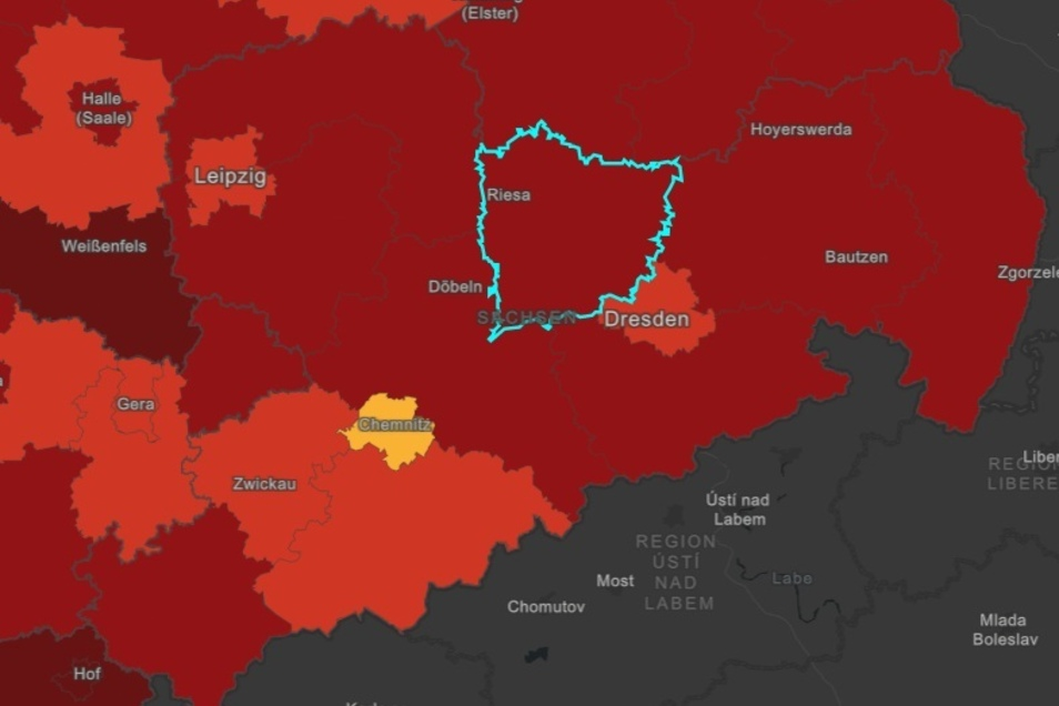 So sieht die Landkarte des Robert-Koch-Institutes für den Freistaat Sachsen und dessen Nachbarregionen aus. In der Mitte ist der Landkreis Meißen hervorgehoben. Noch dominiert die rote Farbe für den Inzidenzwert über 100.