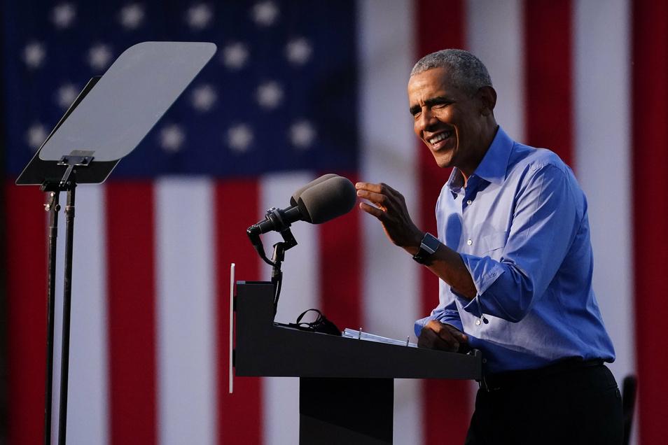 Barack Obama auf einer Wahlkampfveranstaltung zur Unterstützung für den demokratischen Präsidentschaftskandidaten Biden.