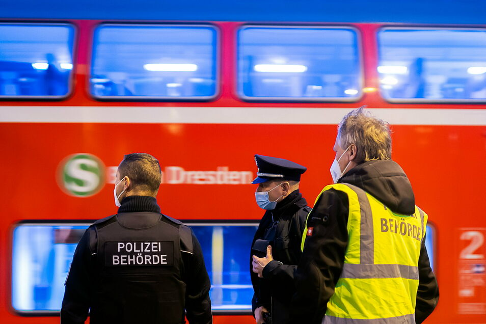 Gemischte Streife: Der Kontrolltrupp des Ordnungsamtes geht mit Beamten der Bundespolizei in Bad Schandau an Bord einer S-Bahn.