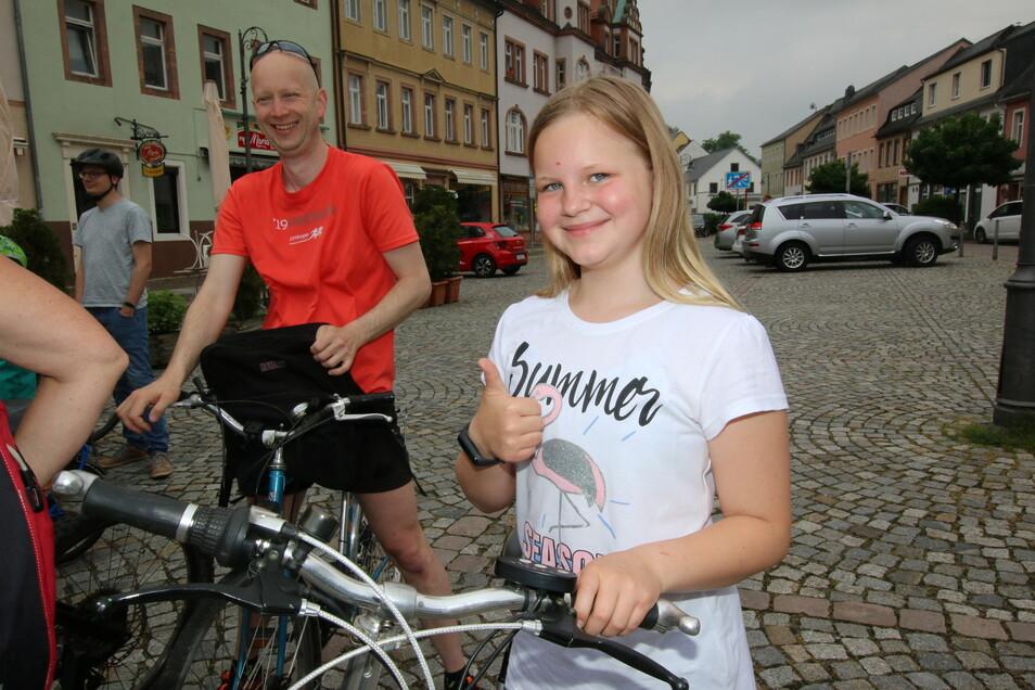 Cailin aus Hartha war mit ihrem Mini-E-Bike dabei. Wieder zuhause angekommen, standen knapp 40 Kilometer auf dem Tageszähler.