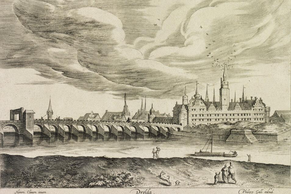 Die alte Dresdner Brücke war im Mittelalter die längste nördlich der Alpen. Der Kupferstich von Mitte des 16. Jahrhunderts zeigt sie.