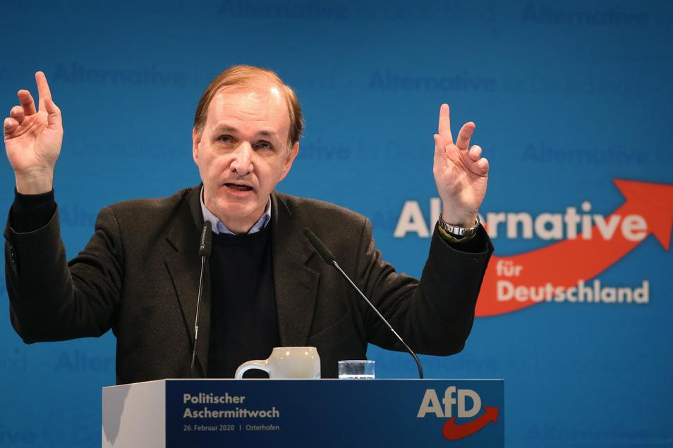 Gottfried Curio, Mitglied des Bundestages für die AfD, spricht beim Politischen Aschermittwoch der Alternative für Deutschland.