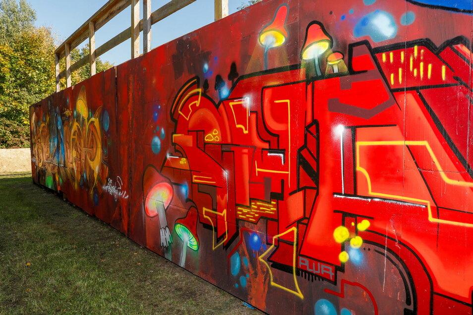 Gewollt ist diese schöne Gestaltung der Seiten- und Rückwände der Elemente im Skatepark. Jugendliche Graffiti-Sprayer hatten hier freie Hand für ihre Kunstwerke.